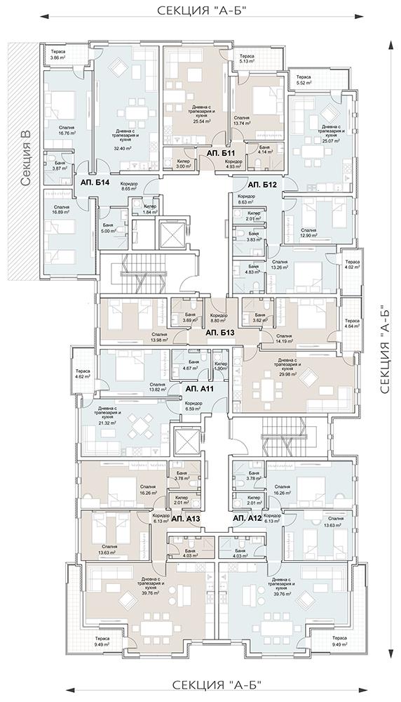 Сграда 1, вход АБ, ет. 4
