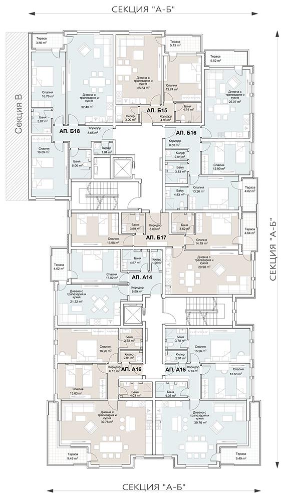 Сграда 1, вход АБ, ет. 5