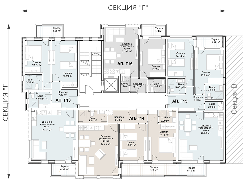 Сграда 1, вход Г, ет. 4