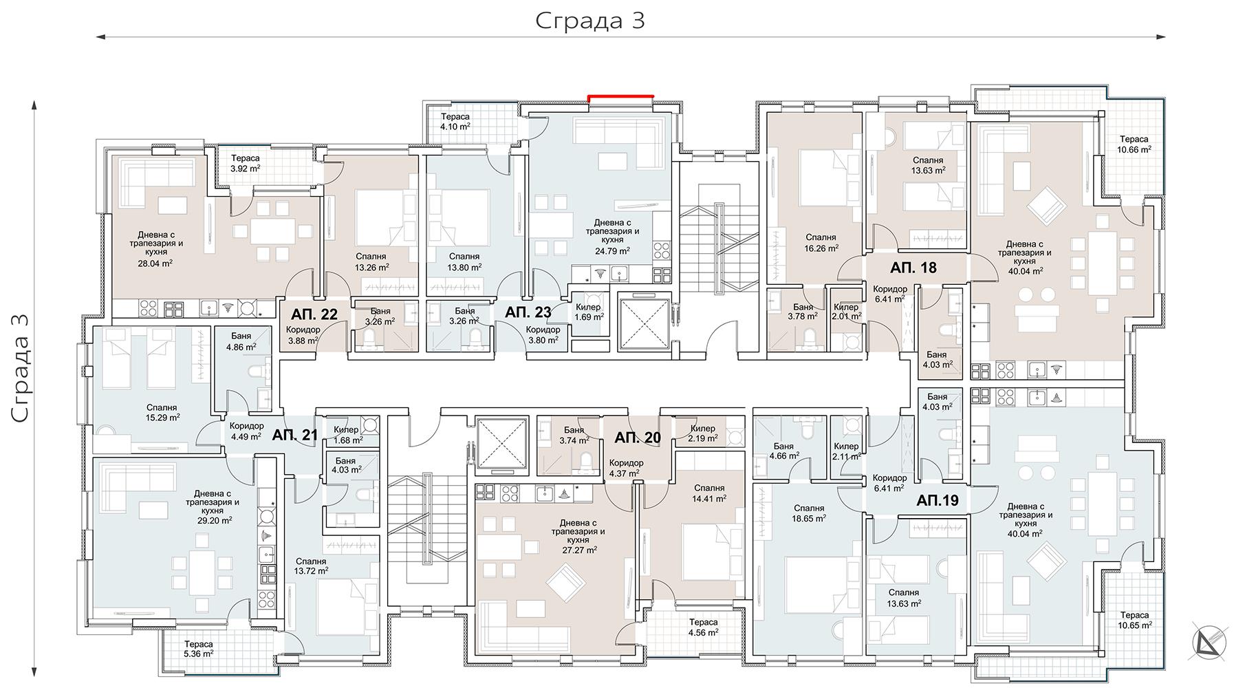 Сграда 3, вход АБ, ет. 4