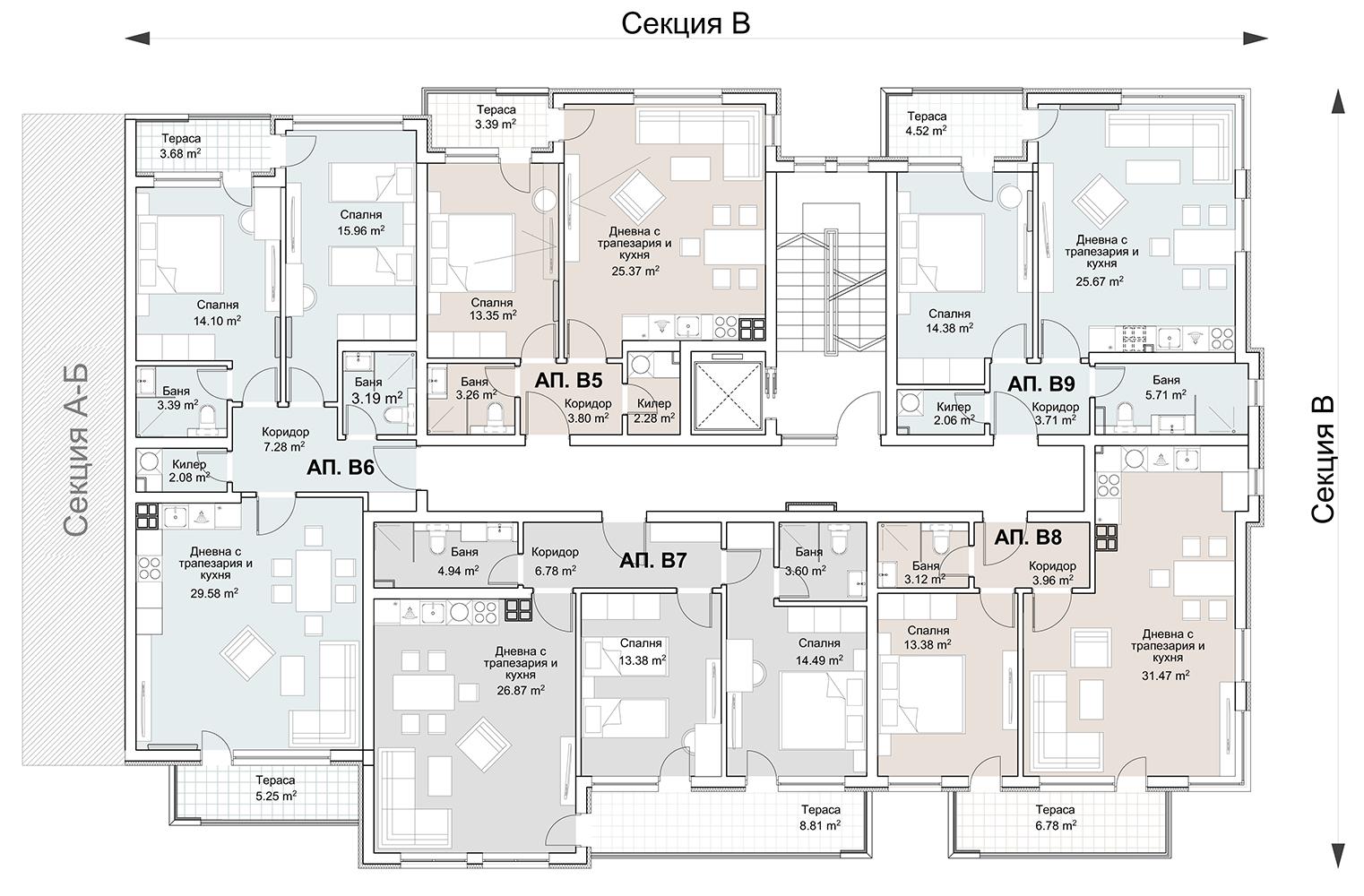 Сграда 4, вход В, ет. 2