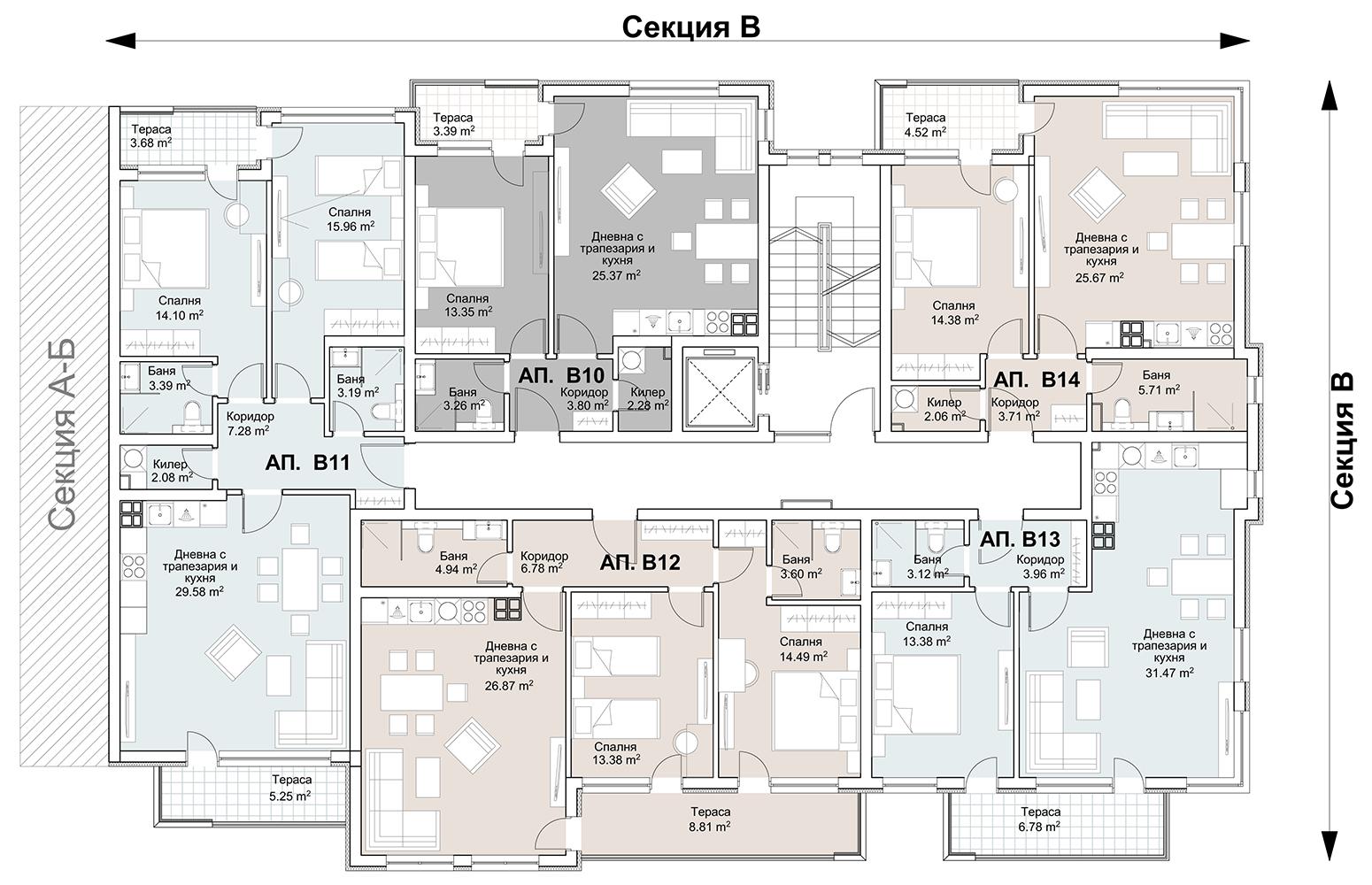 Сграда 5, вход В, ет. 3