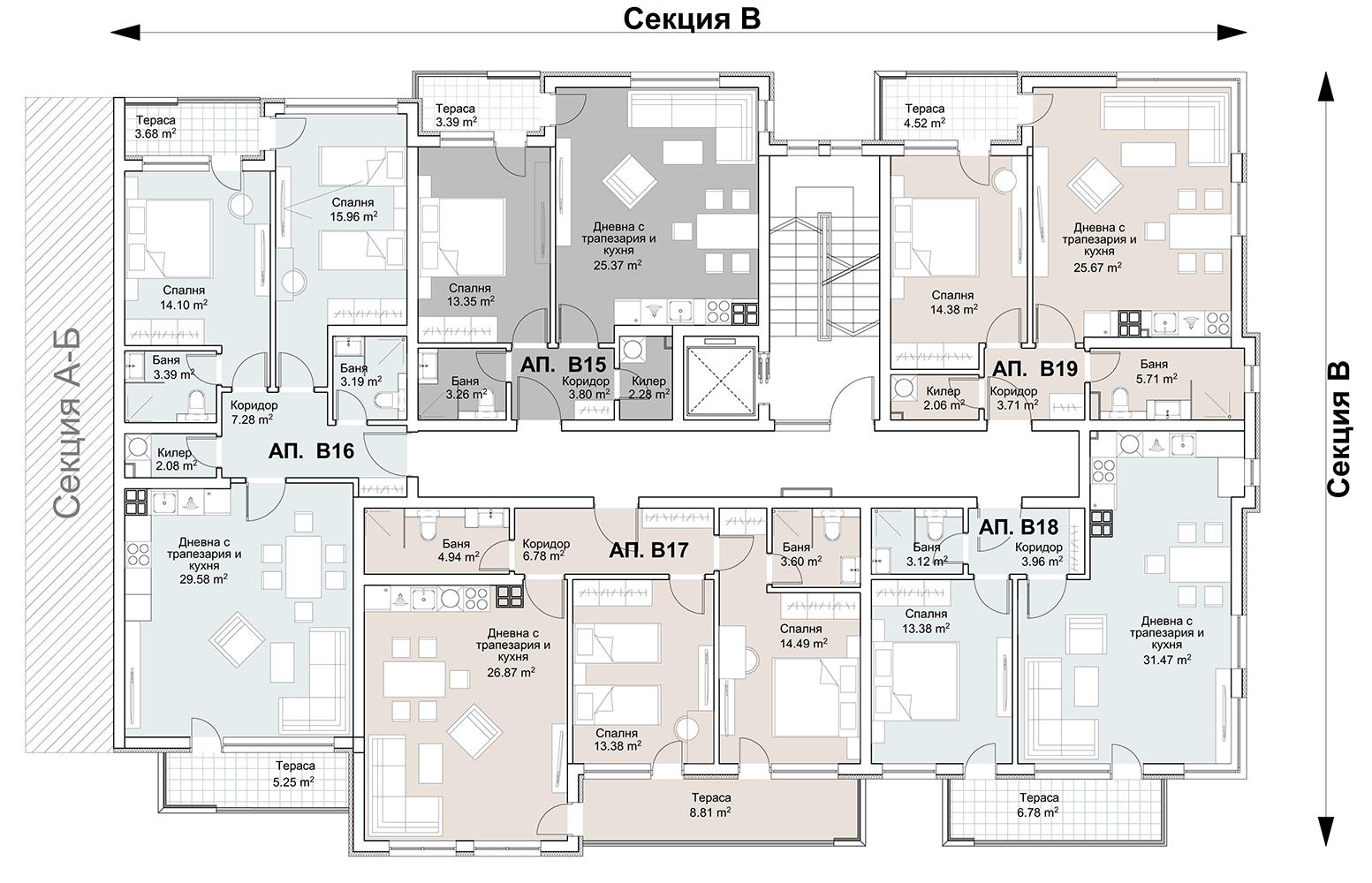 Сграда 5, вход В, ет. 4