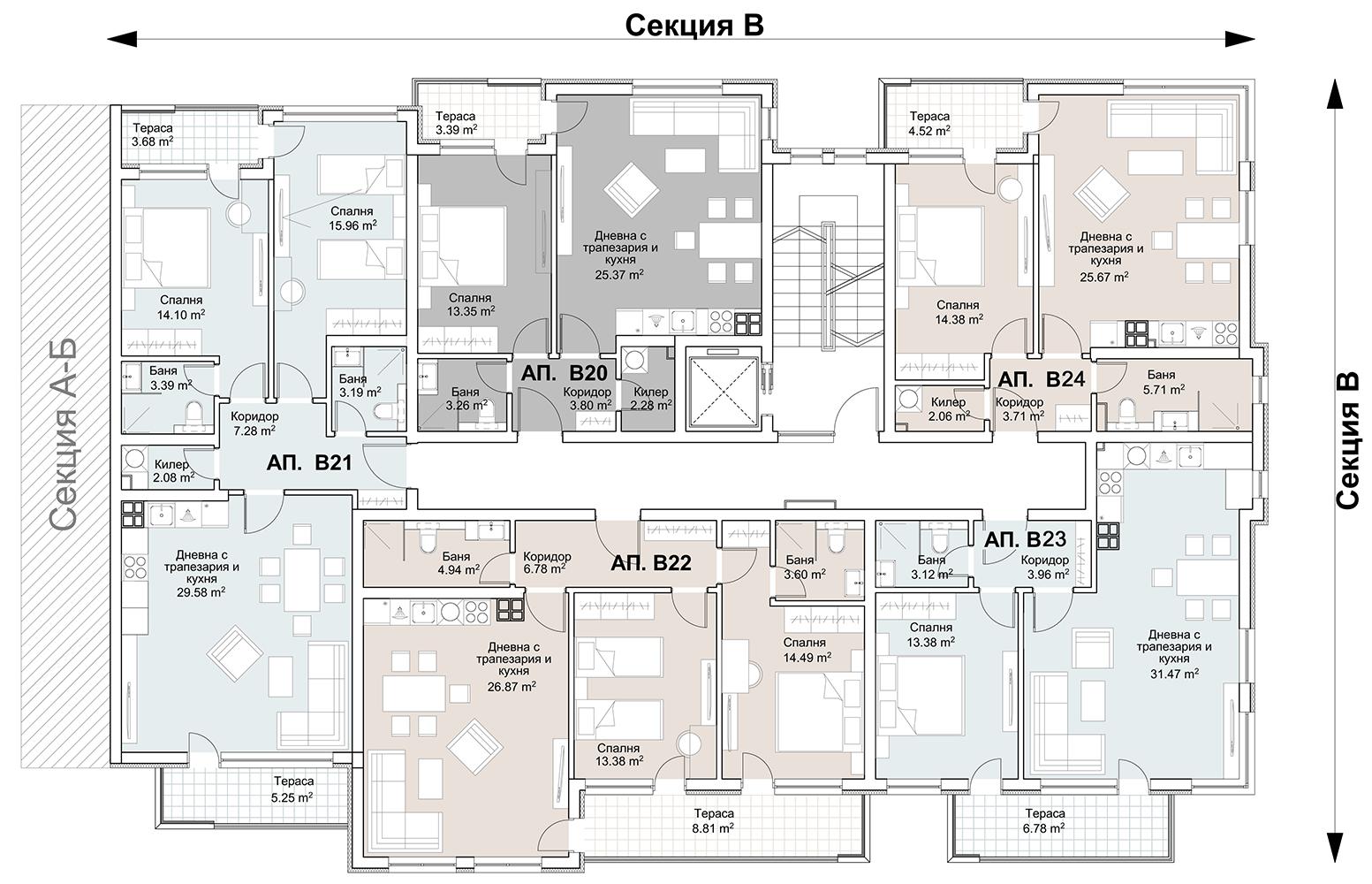 Сграда 5, вход В, ет. 5