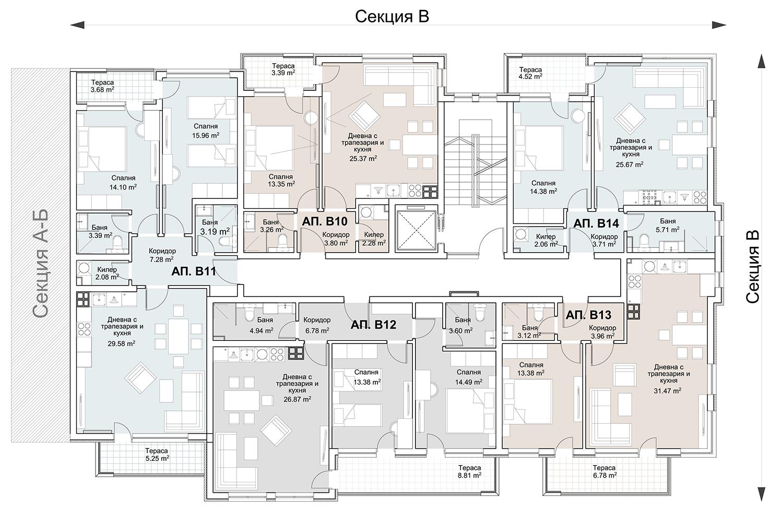 Сграда 6, вход В, ет. 3