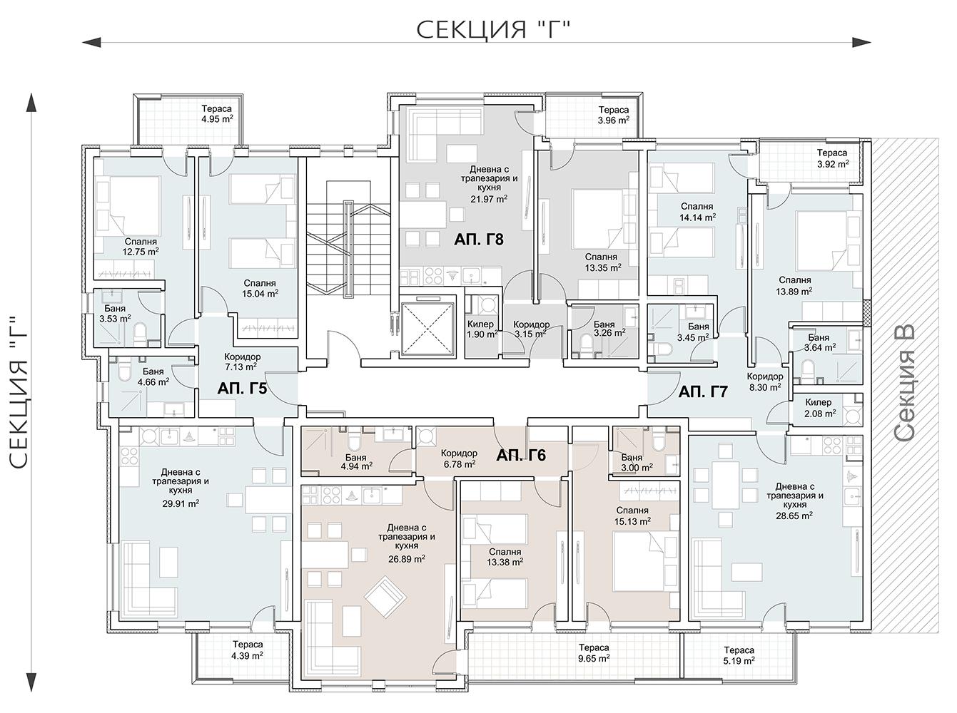 Сграда 7, вход Г, ет. 2