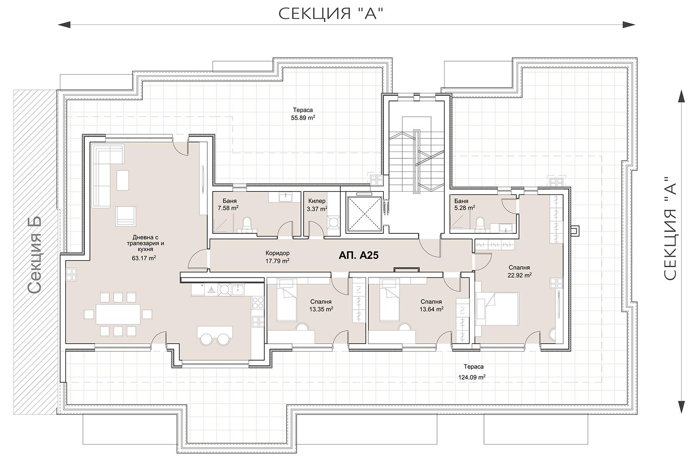 Сграда 8, вход А, Пентхаус