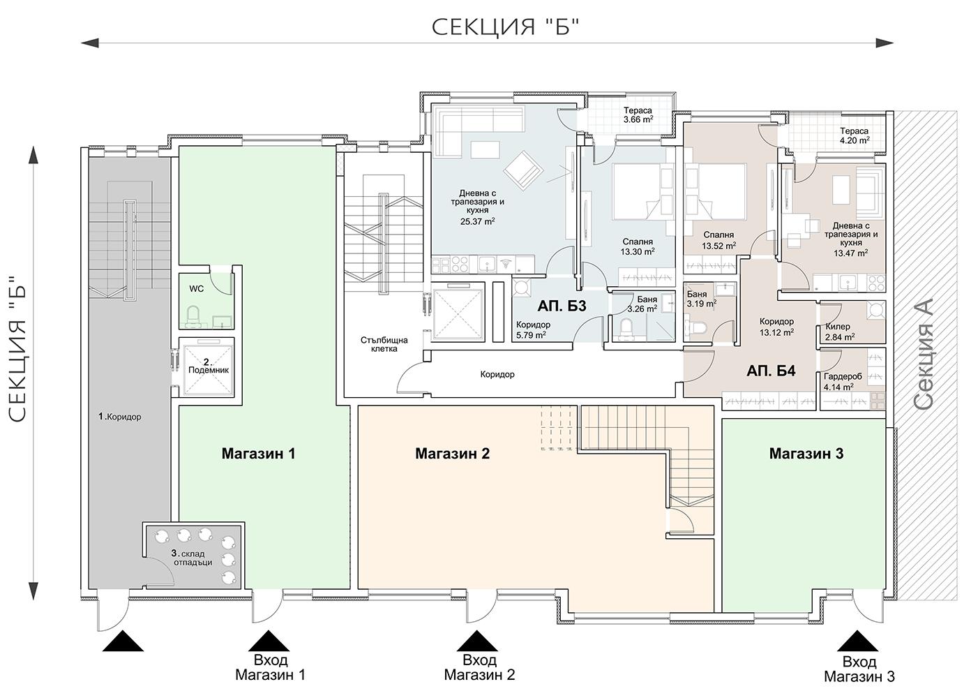 Сграда 8, вход Б, ет. 2